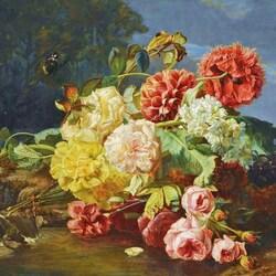 Пазл онлайн: Букет цветов и бабочка