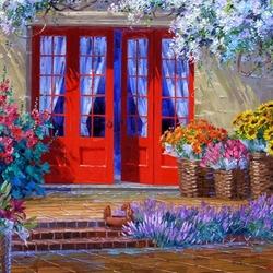 Пазл онлайн: Дом с голубыми занавескми