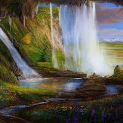 Пазл онлайн: Водопад над гротом