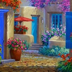 Пазл онлайн: Красивый дворик