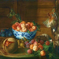 Пазл онлайн: Натюрморт с фруктами и дичью