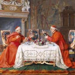 Пазл онлайн: Два кардинала за обедом