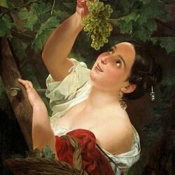 Пазл онлайн: Девушка, собирающая виноград