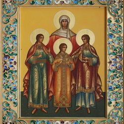 Пазл онлайн: Икона Святые мученицы Вера, Надежда, Любовь и София