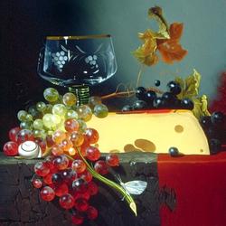 Пазл онлайн: Натюрморт с сыром и виноградом
