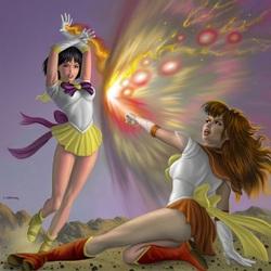Пазл онлайн: Сейлор Солнце против Сейлор Ио
