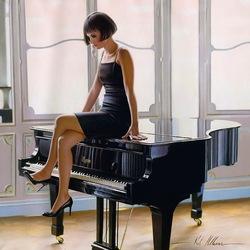 Пазл онлайн: Девушка на рояле