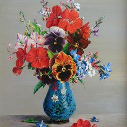 Пазл онлайн: Букет в синей вазе