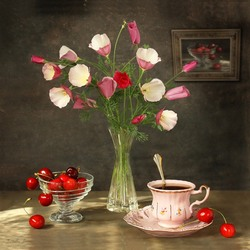 Пазл онлайн: Букет розовой эшшольции