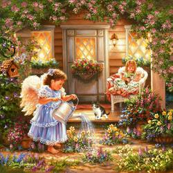 Пазл онлайн: Маленькие ангелы