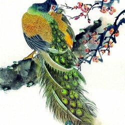 Пазл онлайн: Любимые птицы Геры.Павлины