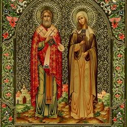 Пазл онлайн: Икона Святой Киприан и Устинья