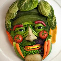 Пазл онлайн: Лицо из овощей