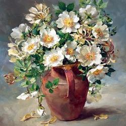 Пазл онлайн: Цветы в кувшине