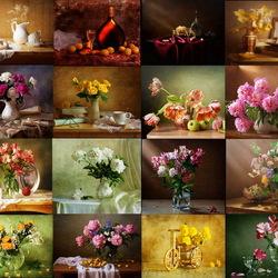 Пазл онлайн: Натюрморты с цветами