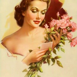 Пазл онлайн: Девушка с розами