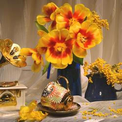 Пазл онлайн: Желтые тюльпаны
