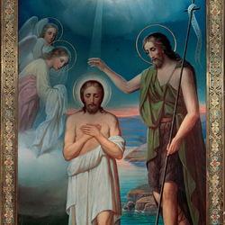 Пазл онлайн: Икона Крещение Господне