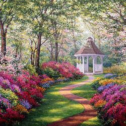 Пазл онлайн: Беседка среди цветов