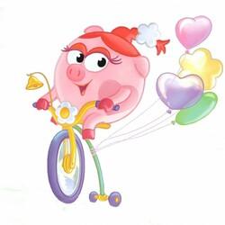 Пазл онлайн: Нюша на велосипеде