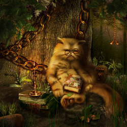 Пазл онлайн: Кот учёный