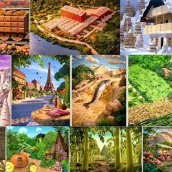 Пазл онлайн: Съедобные пейзажи