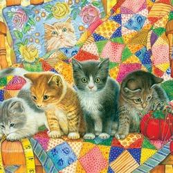 Пазл онлайн: Игривые котята