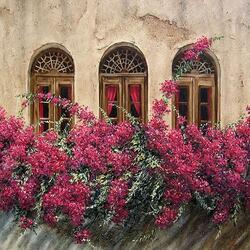 Пазл онлайн: Окна в цветах