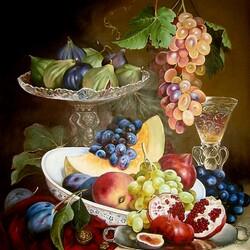 Пазл онлайн: Ваза с фруктами и бокал