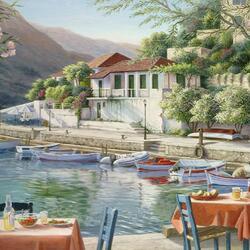 Пазл онлайн: Кафе на берегу