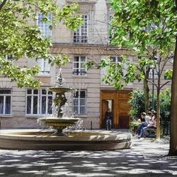 Пазл онлайн: Сквер с фонтаном
