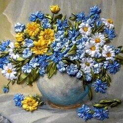 Пазл онлайн: Полевые цветы из шелка