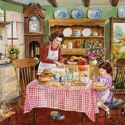 Пазл онлайн: Мама и дочка