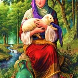 Пазл онлайн: Девушка с ягненком