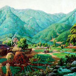Пазл онлайн: Деревушка среди гор