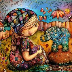 Пазл онлайн: Мой слоненок