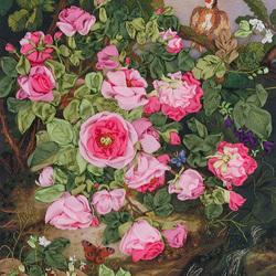 Пазл онлайн: Розовый куст. Вышивка лентами