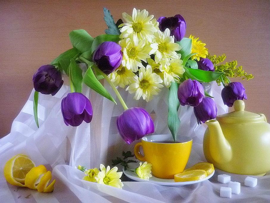Открытки с тюльпанами с добрым утром 54