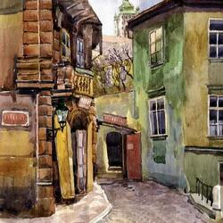 Пазл онлайн: Уголок старого города