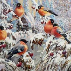 Пазл онлайн: Славят зиму снегири