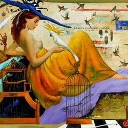 Пазл онлайн: Девушка с попугаем