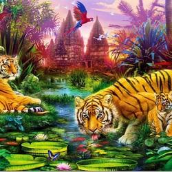 Пазл онлайн: Тигриное семейство