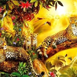 Пазл онлайн: Семейство леопардов