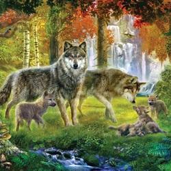 Пазл онлайн: Лесные волки