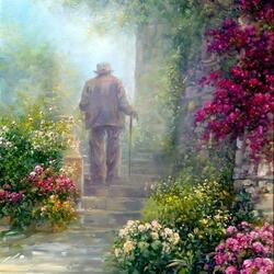 Пазл онлайн: Старый человек, идущий по лестнице