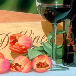 Пазл онлайн: Вино и тюльпаны