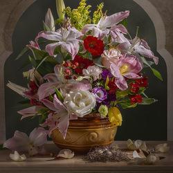 Пазл онлайн: Букет цветов в стиле голландских живописцев