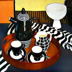 Пазл онлайн: Натюрморт с черно-белой посудой