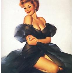 Пазл онлайн: Красотка в чёрном платье
