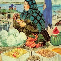 Пазл онлайн: Торговка овощами